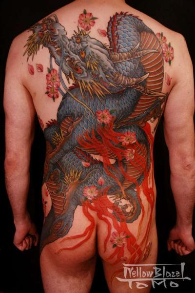 Japanese Back Dragon Butt Body Tattoo by Yellow Blaze Tattoo