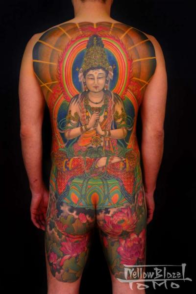 Japanese Buddha Back Religious Butt Body Tattoo by Yellow Blaze Tattoo