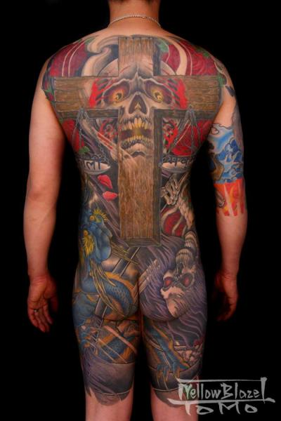 Japanese Skull Back Butt Crux Body Tattoo by Yellow Blaze Tattoo