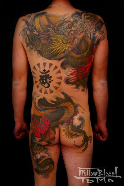 Tatuaggio Gamba Giapponesi Schiena Draghi Sedere Corpo di Yellow Blaze Tattoo