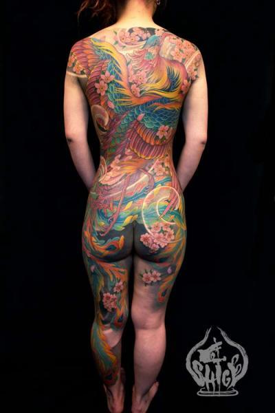 Japanese Back Butt Phoenix Body Tattoo by Yellow Blaze Tattoo