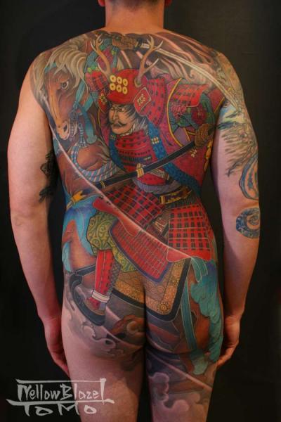 Tatouage Japonais Retour Samourai Cible Corps Par Yellow Blaze Tattoo