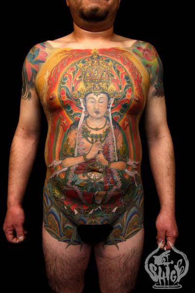 Chest Japanese Buddha Religious Belly Tattoo by Yellow Blaze Tattoo