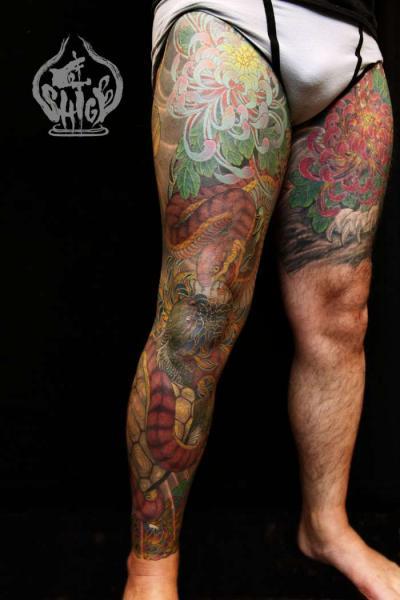 Snake Leg Japanese Tattoo by Yellow Blaze Tattoo