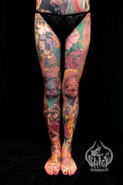 Tatuaje Pierna Japoneses Por Yellow Blaze Tattoo