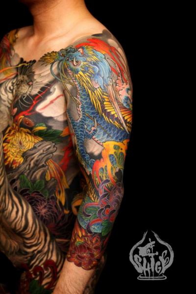 Shoulder Arm Japanese Dragon Tattoo by Yellow Blaze Tattoo