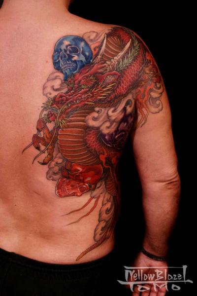 Shoulder Japanese Skull Dragon Tattoo by Yellow Blaze Tattoo