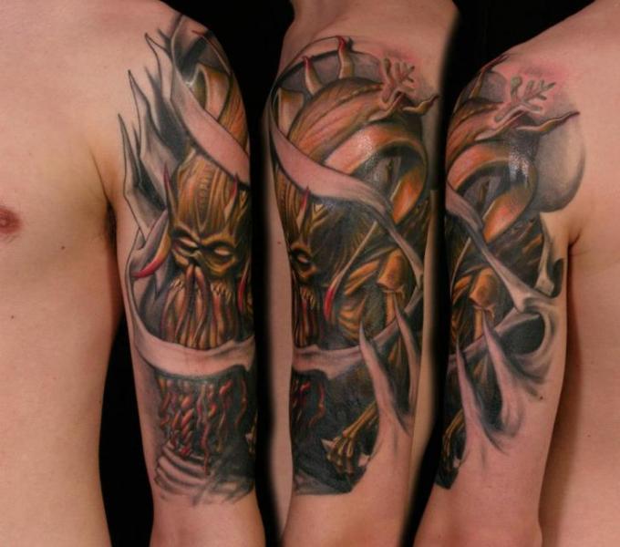 Shoulder Fantasy Monster Tattoo by Heidi Hay Tattoo