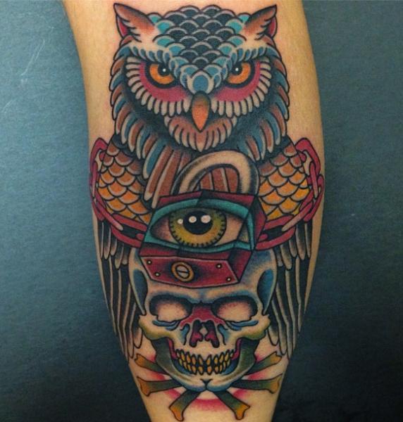 Arm New School Skull Owl Lock Tattoo by Da Vinci Tattoo