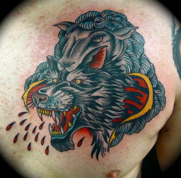 Old School Back Wolf Lamb Tattoo by Da Vinci Tattoo