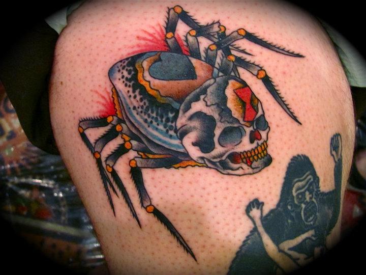 Tatuaggio New School Teschio Ragni di Da Vinci Tattoo
