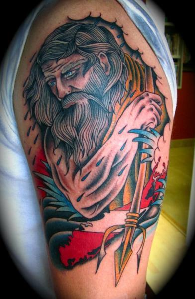 Shoulder New School Neptune Tattoo by Da Vinci Tattoo