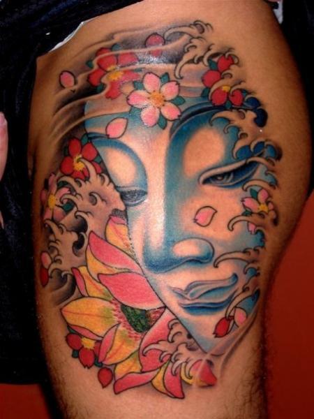 Tatuaggio Buddha Religiosi Coscia di Da Vinci Tattoo