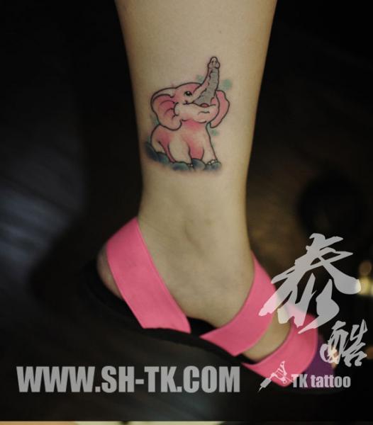 Fantasy Leg Elephant Tattoo by SH TH