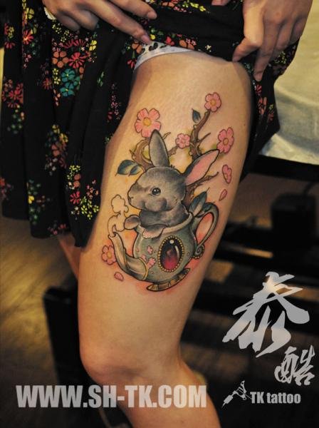 Fantasy Leg Rabbit Tattoo by SH TH