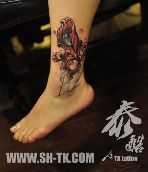 Fantasy Foot Dagger Tattoo by SH TH