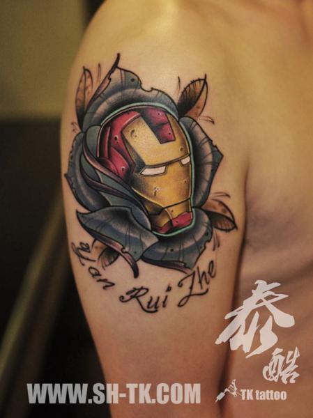 Shoulder Fantasy Ironman Tattoo by SH TH