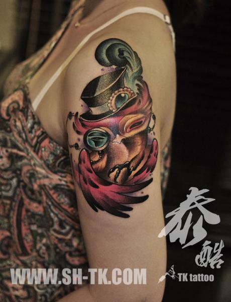 Shoulder Fantasy Owl Tattoo by SH TH
