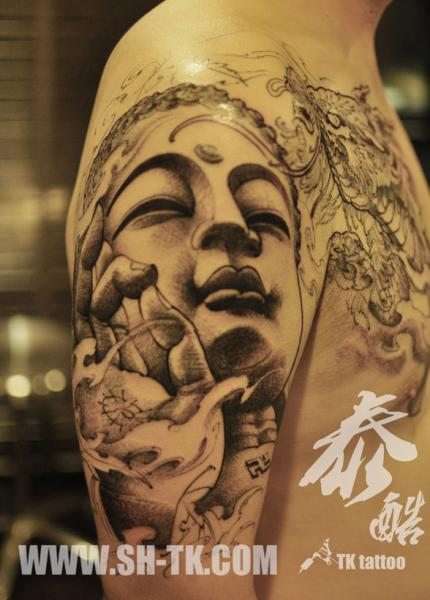 Shoulder Buddha Religious Tattoo by SH TH