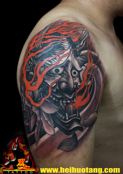 Shoulder Japanese Demon Tattoo by Heihuotang Tattoo