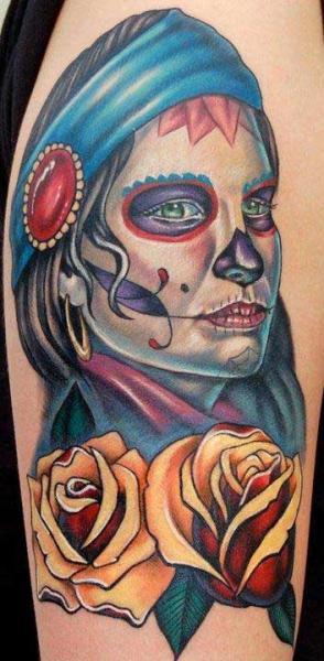 Arm Mexican Skull Tattoo by Dzy Tattoo