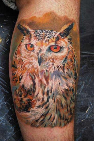 Realistic Leg Owl Tattoo by Dzy Tattoo