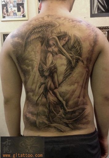 Fantasy Back Angel Tattoo by GL Tattoo