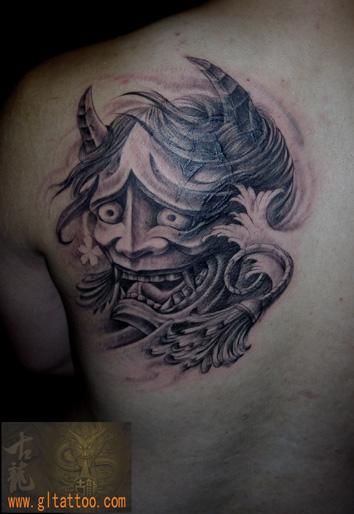 Shoulder Japanese Demon Tattoo by GL Tattoo