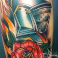 Arm Flower Helmet tattoo by Elektrisk Tatovering
