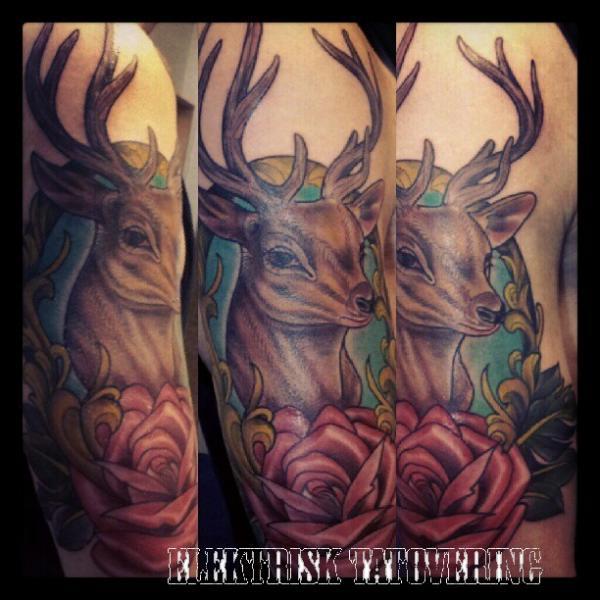 Arm New School Flower Deer Tattoo by Elektrisk Tatovering