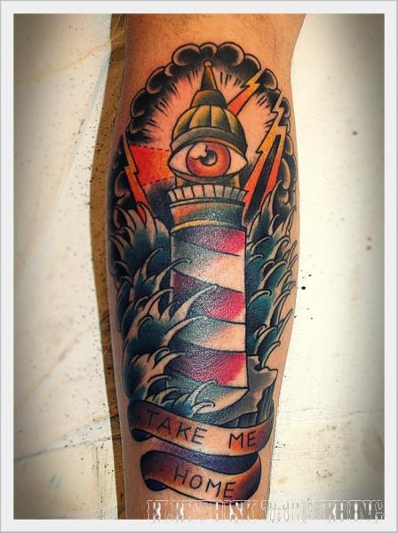 Arm New School Leuchtturm Wellen Tattoo von Elektrisk Tatovering