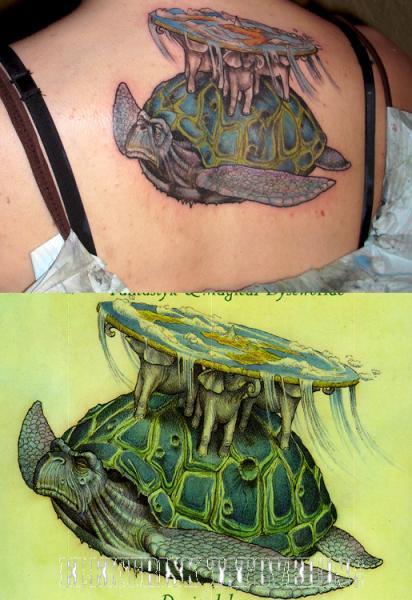 Fantasy Back Turtle Tattoo by Elektrisk Tatovering