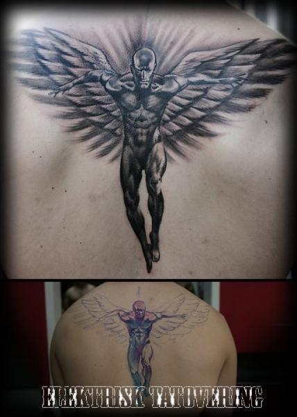 Fantasy Back Wings Tattoo by Elektrisk Tatovering