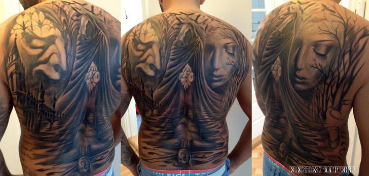 Fantasie Rücken Tattoo von Elektrisk Tatovering