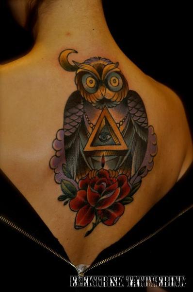New School Back Owl God Tattoo by Elektrisk Tatovering