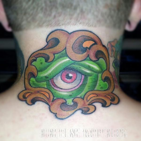 Fantasy Eye Neck Tattoo by Elektrisk Tatovering