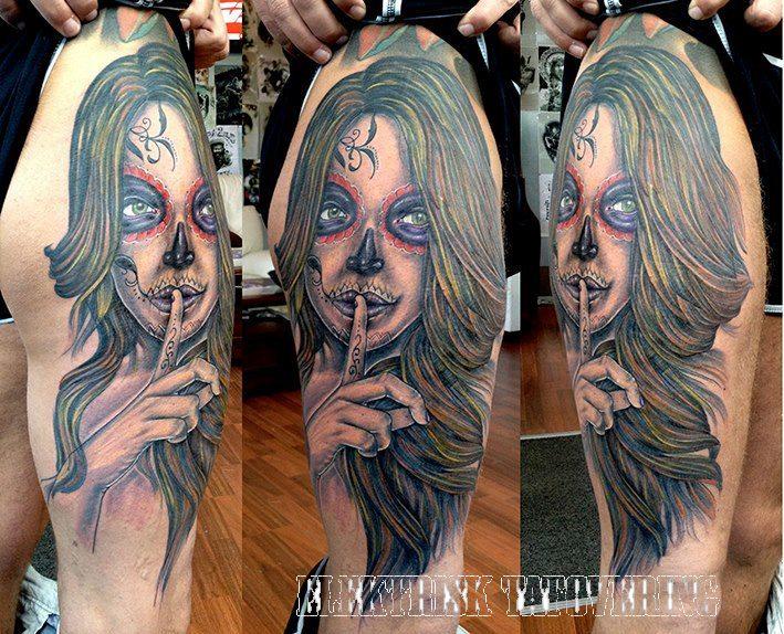 Schulter Mexikanischer Totenkopf Tattoo von Elektrisk Tatovering