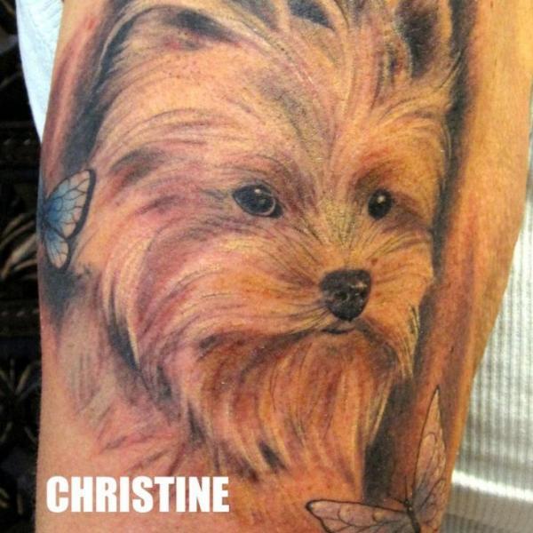 Arm Realistic Dog Tattoo by Attitude Tattoo Studio