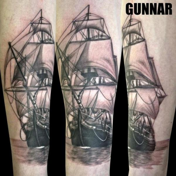 Arm Realistic Galleon Tattoo by Attitude Tattoo Studio