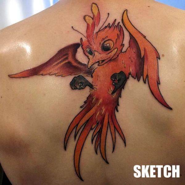 Fantasie Rücken Phoenix Tattoo von Attitude Tattoo Studio