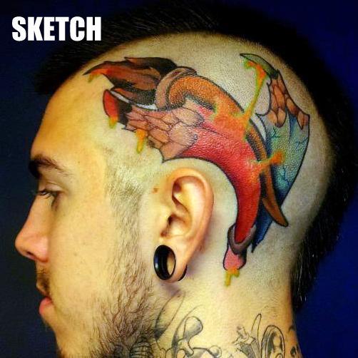 Fantasie Kopf Stift Tattoo von Attitude Tattoo Studio