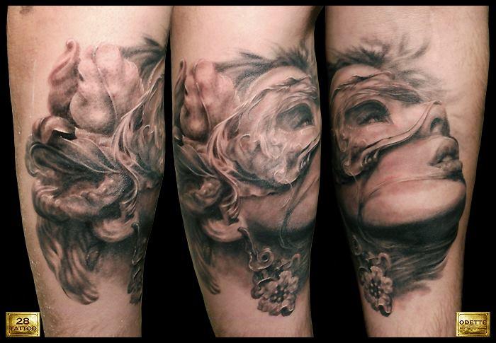 Tatuaje Brazo Fantasy Mujer 3d por 28 Tattoo