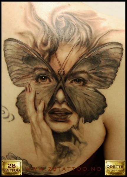 Women Butterfly Mask Breast Tattoo by 28 Tattoo