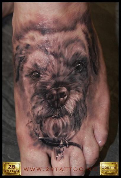 Realistic Foot Dog Tattoo by 28 Tattoo
