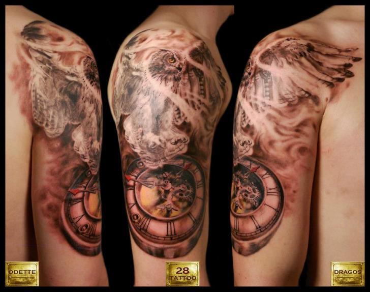 Shoulder Clock Owl Tattoo by 28 Tattoo