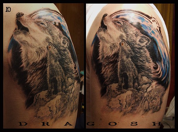 Shoulder Realistic Wolf Tattoo by 28 Tattoo