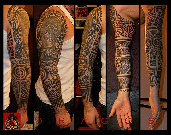 Tribal Maori Sleeve Tattoo by 28 Tattoo