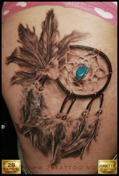Realistic Dreamcatcher Thigh Tattoo by 28 Tattoo
