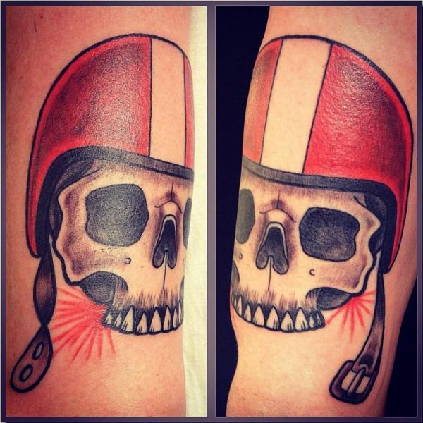 Arm Skull Helmet Tattoo by World's End Tattoo