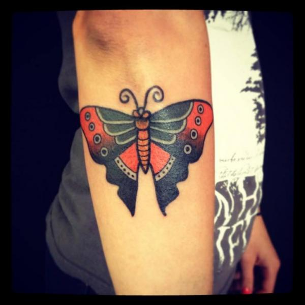 Arm Old School Butterfly Tattoo by World's End Tattoo